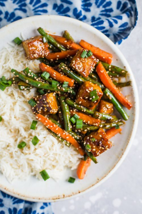 tempeh Stir Fry served over white rice