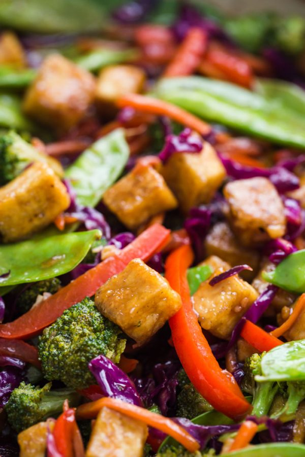 up close shot of tofu stir fry in a skillet