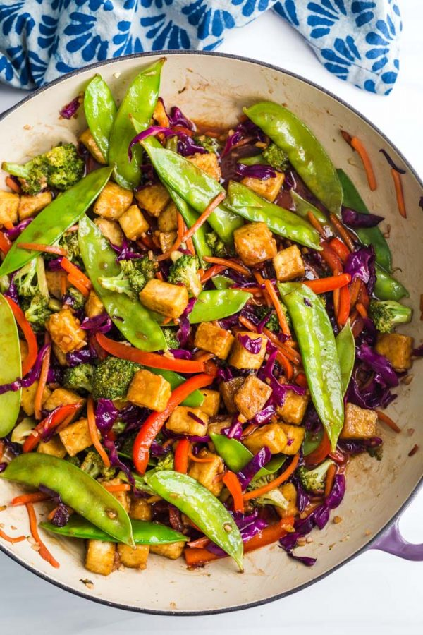 Tofu stir fry in a large skillet
