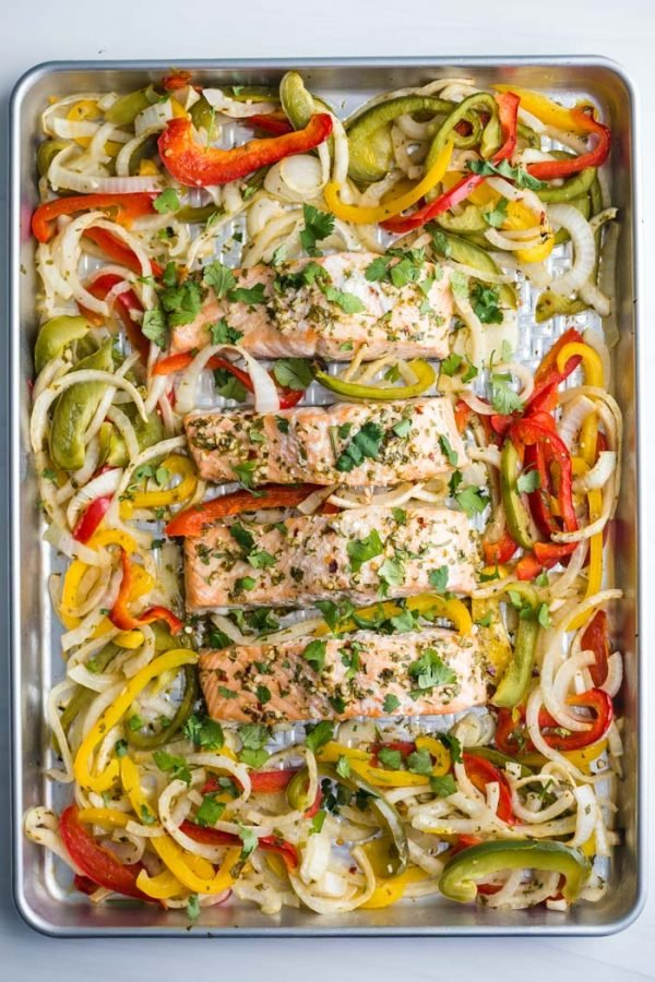 Sheet Pan Garlic Lime Salmon- this healthy sheet pan dinner is easy to make and a great weeknight meal everyone will love!