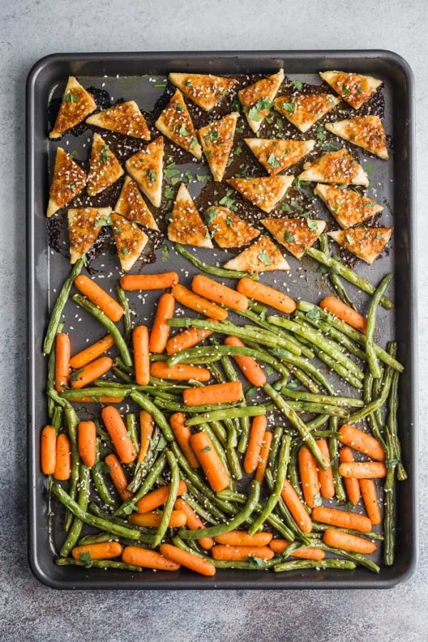 Tofu and veggies sheet pan meal