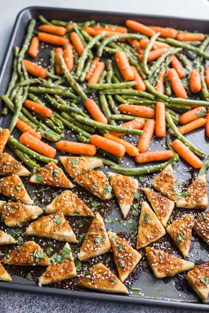 tofu and veggies on a sheet pan