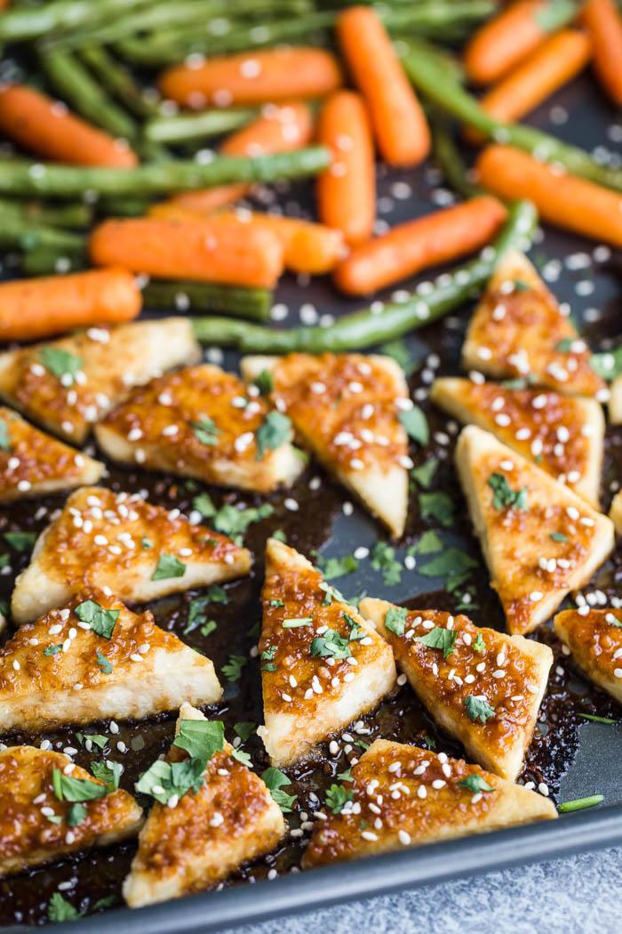 sesame honey tofu triangles and veggies