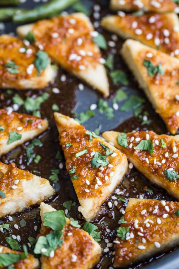 sesame tofu triangles