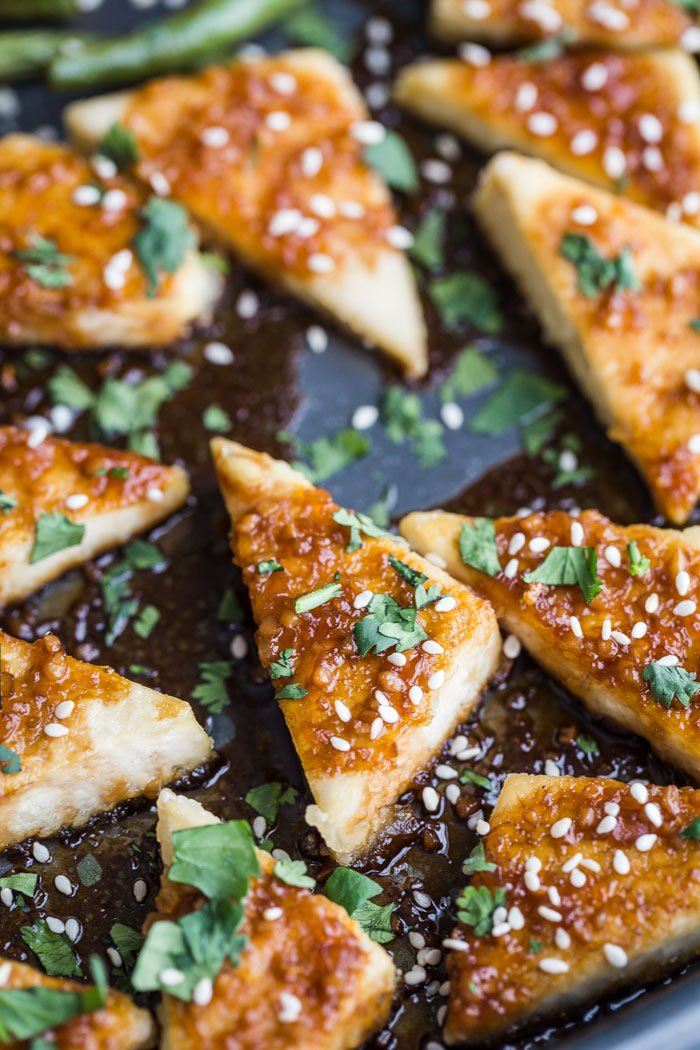 sesame tofu triangles