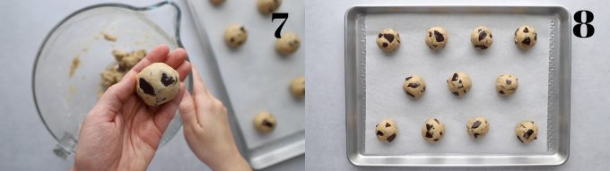 side by side images. Left image: a ball of cookie dough being held in a hand. right image: many balls of chocolate chip cookie dough placed on a baking tray