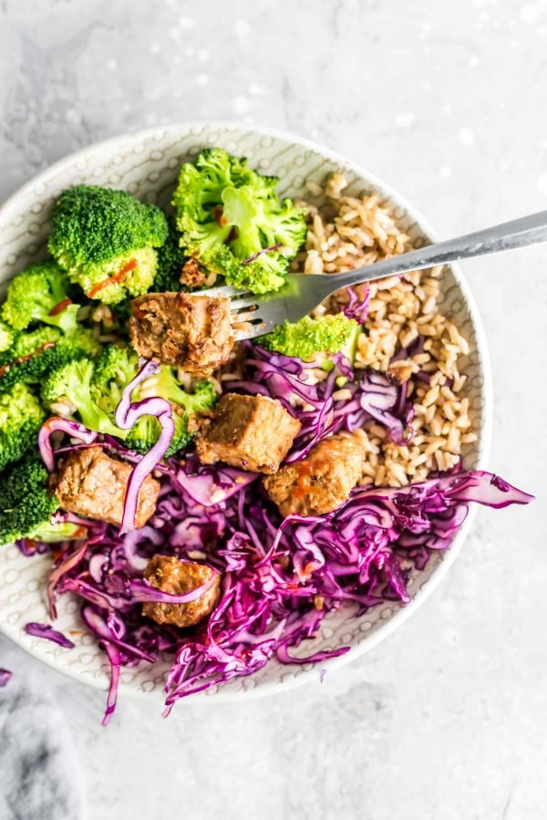 Baked Tempeh Bowls with Brown Rice {Vegan}