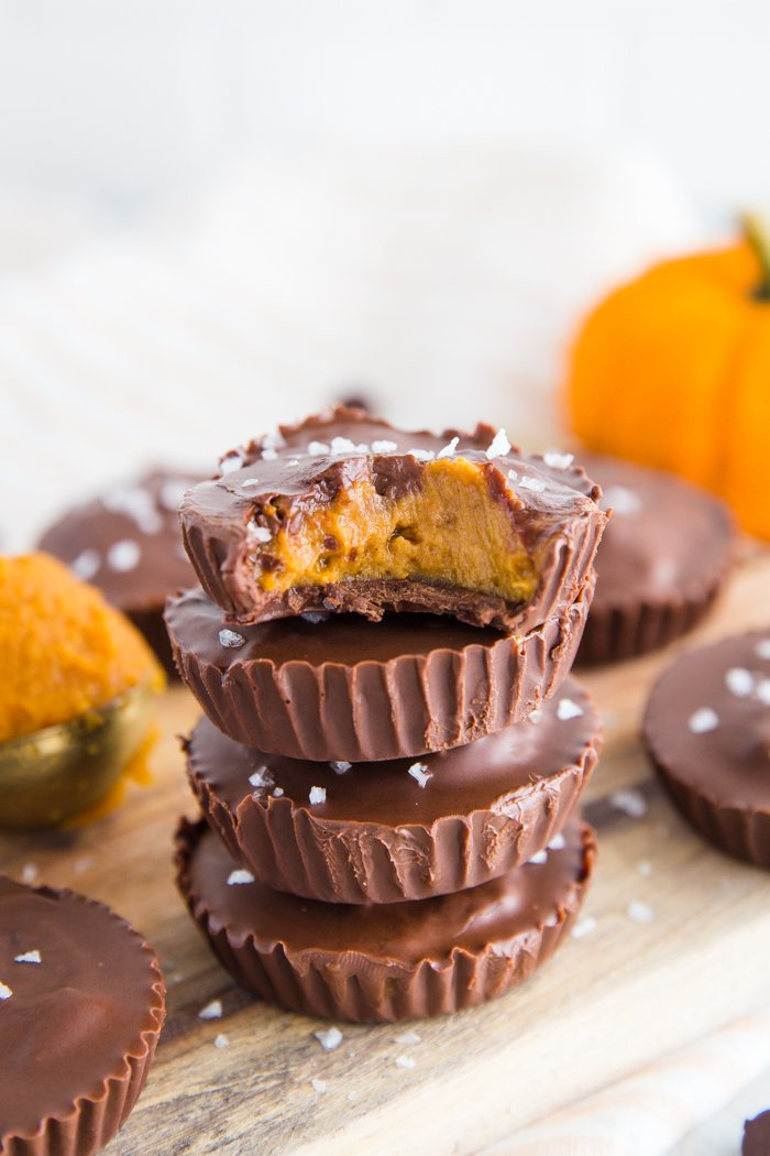 Pumpkin Peanut Butter Cups- these peanut butter cups are vegan, easy to make, and the perfect pumpkin snack for the fall weather!