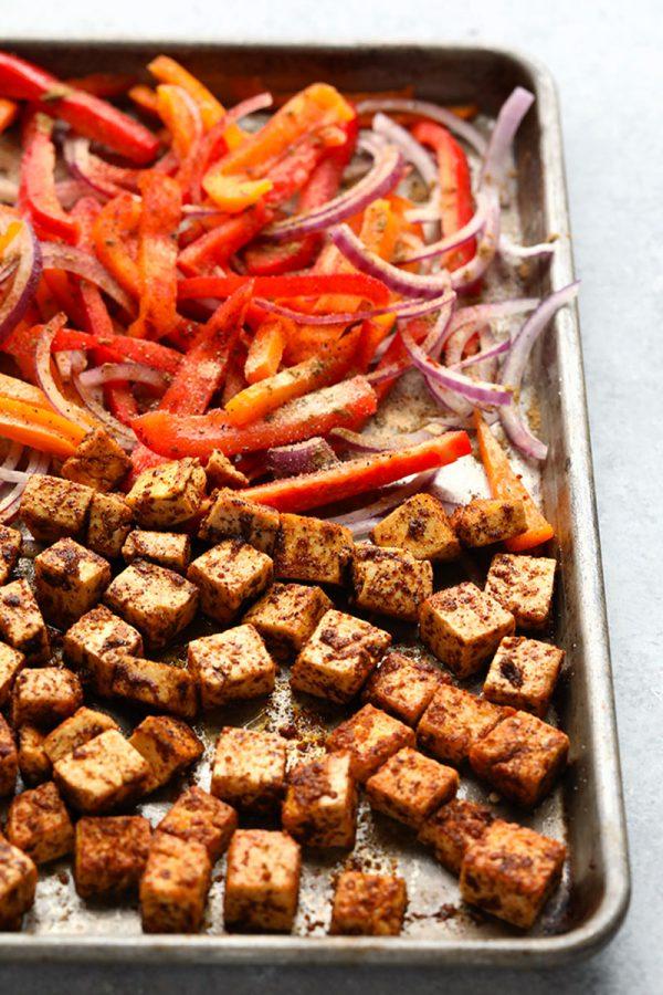 Sheet Pan Meal Prep Tofu Quinoa Burrito Bowls
