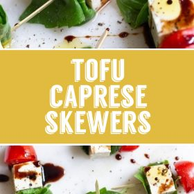 tofu caprese skewers