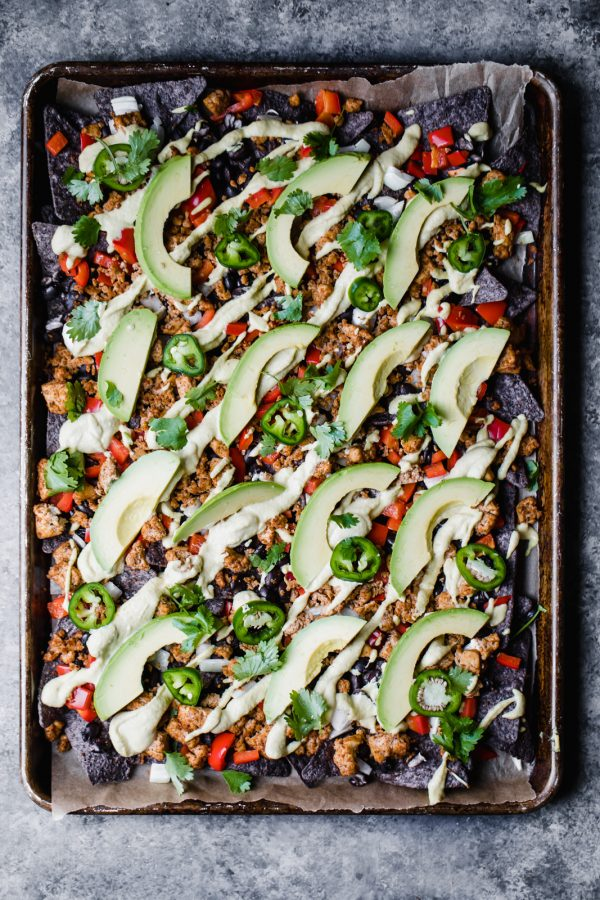 Tofu Vegan Nachos with Cashew Cheese Sauce