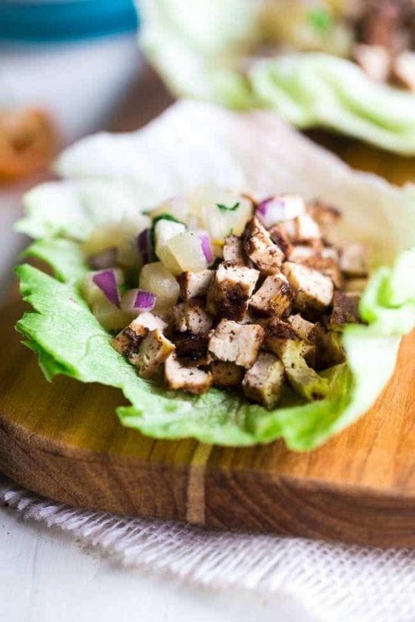 Easy Vegetarian Lettuce Wraps with Jerk Grilled Tofu