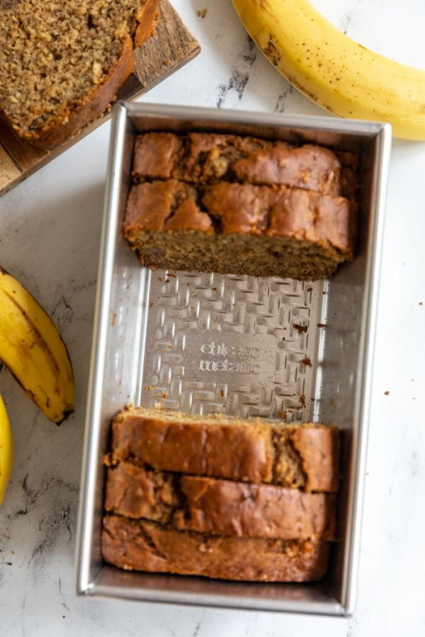 vegan banana bread recipe in a pan