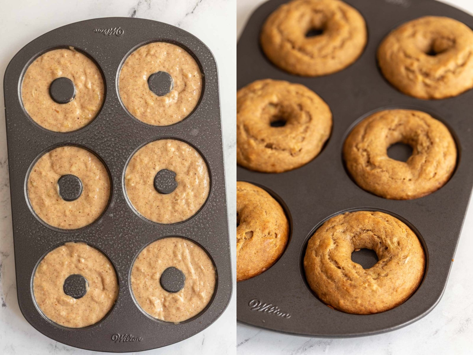 collage image with 2 pictures. Left: donut batter in a 6 cavity donut pan. Right image: the same donuts from a side angle after they have been baked