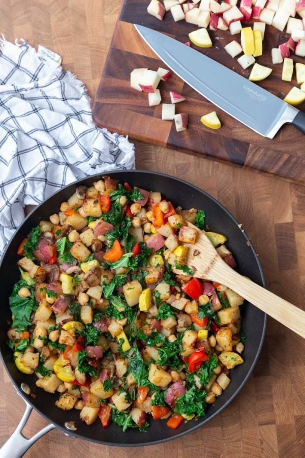vegan breakfast hash in a large skillet