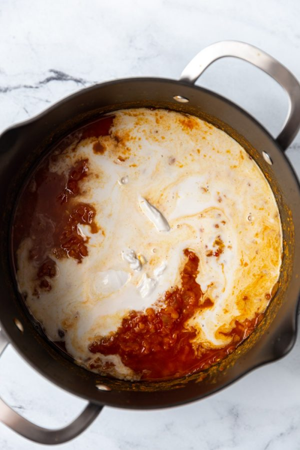 tomato sauce and coconut milk mixing together in a large pot