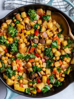 vegan hash made in a large skillet