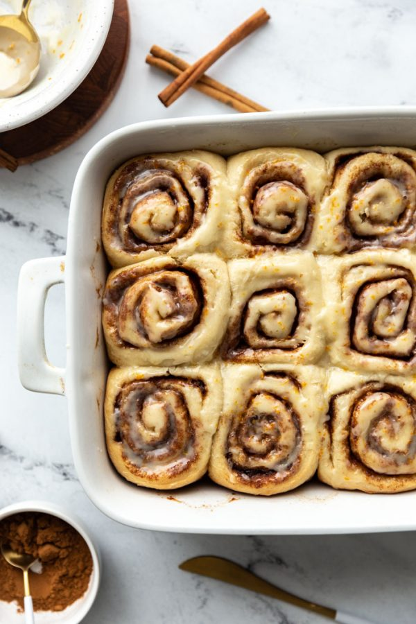 casserole dish full of vegan cinnamon rolls