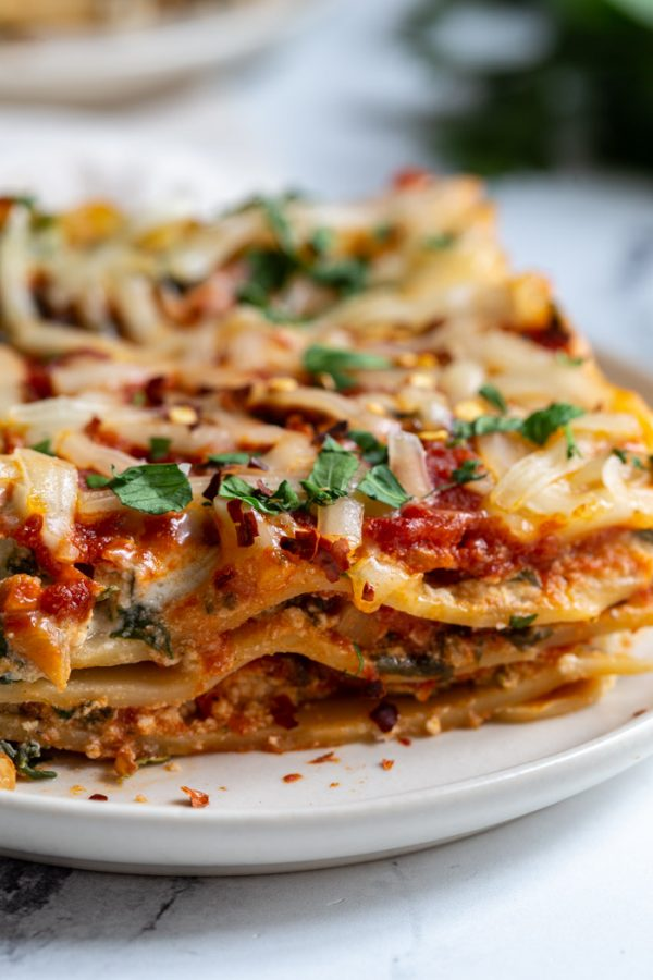 up close shot of a plate of lasagna