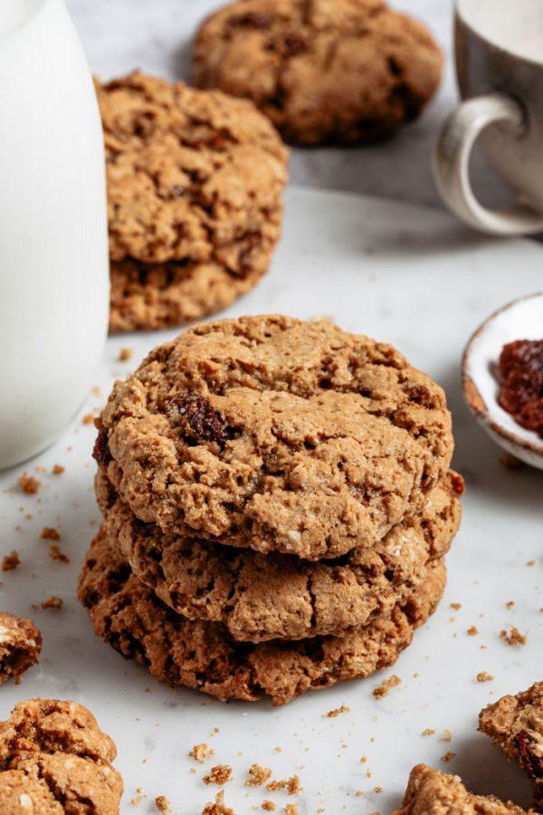 stack of vegan oatmeal raisin cookies