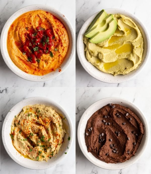 collage of 4 different hummus flavors