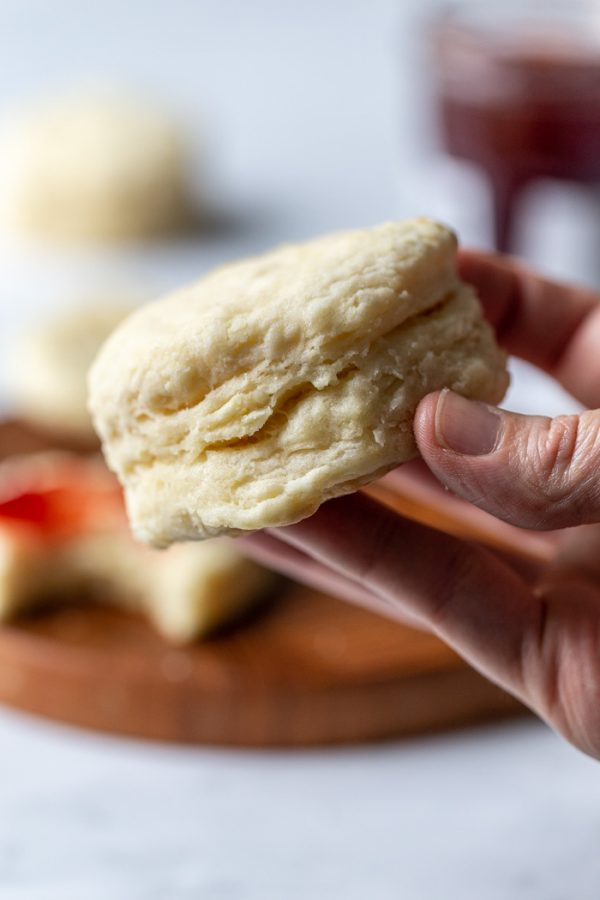 up close shot of a vegan biscuit being held