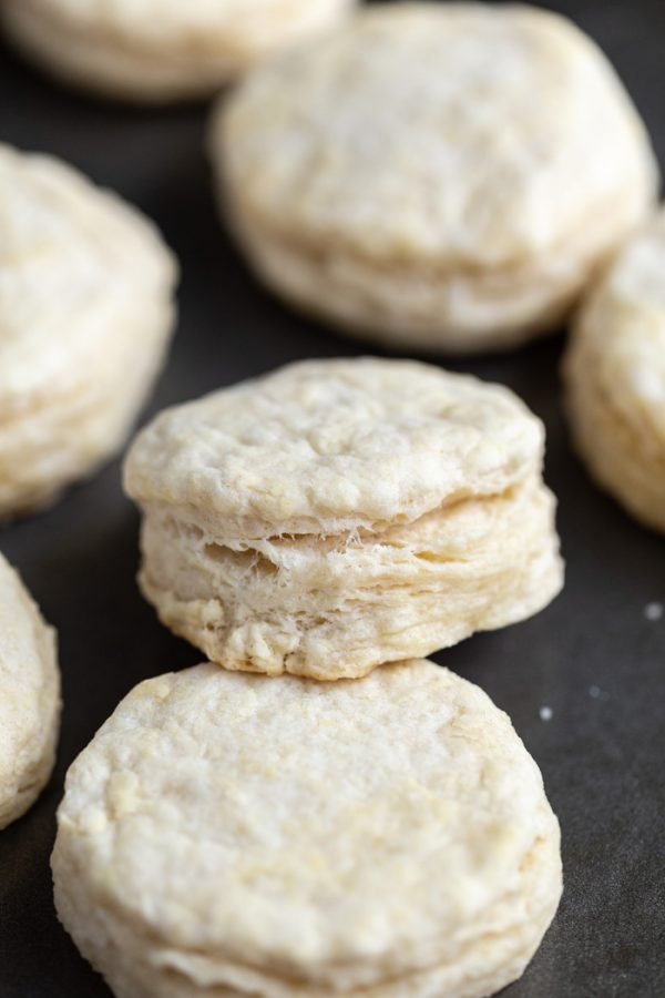 up close shot of biscuits on a baking tray