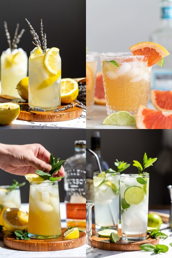 a collage of 4 images: 1) lavender vodka lemonade 2) small glass of grapefruit margarita 3) whiskey smash with mint in it 4) mojito dink with mint and limes in it
