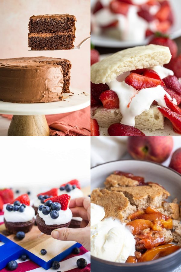 a collage of 4 images: 1) slice of chocolate cake being pulled from the cake 2) close up shot of strawberry shortcake 3) a hand holding a brownie cupcake that's topped with whipped cream and berries 4) close up shot of peach cobbler and ice cream