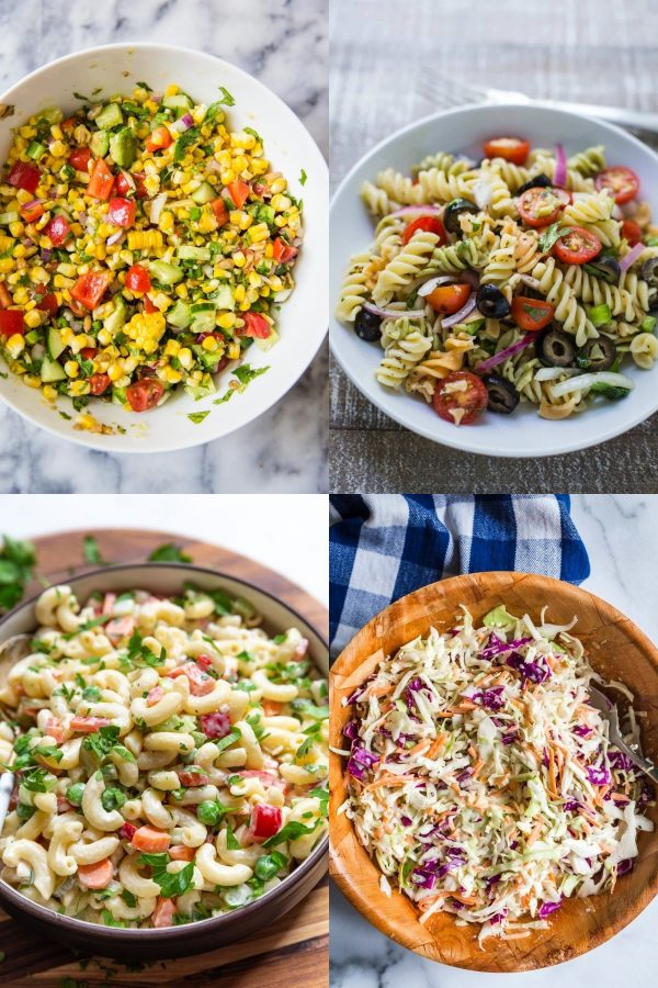 a collage image with 4 pictures: 1) a large bowl of grilled corn salad 2) a white bowl of pasta salad 3) a bowl of macaroni salad 4) a bamboo bowl full of coleslaw