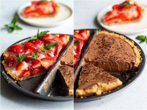 side by side images. Left: zoomed in shot of the fresh strawberry pie with mint on top. right: shot of the chocolate silken pie with a slice taken out