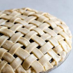 side shot of a lattice pie unbaked