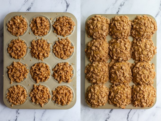 side by side shots. Left: gold muffin tin filled with banana muffin batter and topped with a crumble topping. Right image: the same muffins that are baked and much fuller