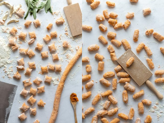 side by side shot. Left: sweet potato gnocchi pieces all spread out with a gnocchi board in the corner. Right: the same raw sweet potato gnocchi that's been pressed on the gnocchi board