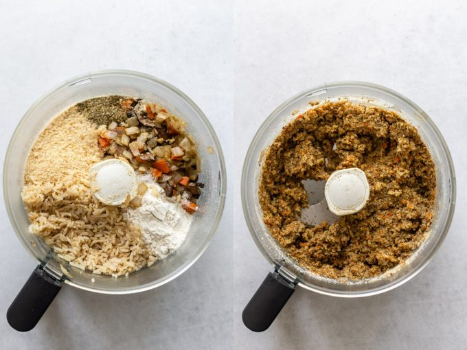 side by side images. Left: veggie burger ingredients in a food processor including sauteed veggies, breadcrumbs, flour, brown rice. Right image: the veggie burger ingredients all blended up in the food processor