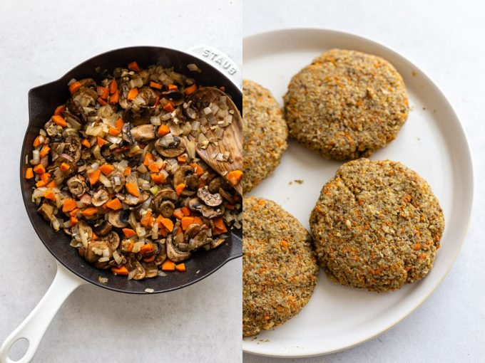side by side images. Left: sauteed onion, carrot, and mushroom in a cast iron skillet. Right: 4 veggie burger patties on a large white plate