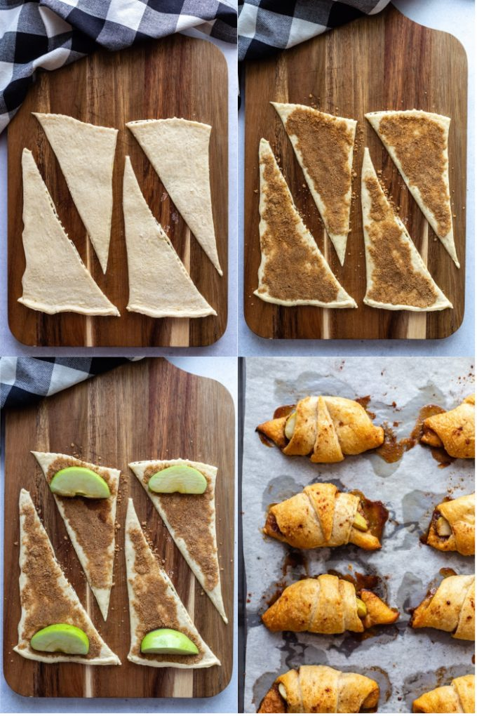 collage of 4 photos. top left: uncooked crescent rolls laying on a wood board. Top right: uncooked crescent rolls topped with brown sugar and cinnamon. Bottom left: uncooked crescent rolls topped with brown sugar and cinnamon and a green apple slice. Bottom right: cooked crescent rolls on a baking sheet with cinnamon sugar oozing out the sides.