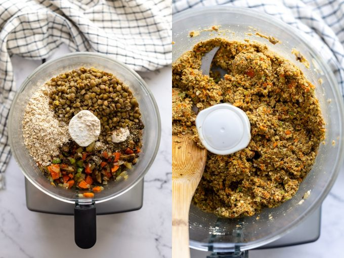 side by side photos. Left: ingredients in a stand mixer for vegan meatloaf including suateed veggies, cooked lentils, oats, seasonsings. Right image: all of those ingredients blended together