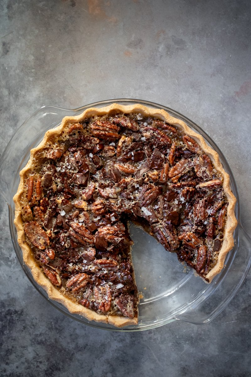 pecan pie on a dark board