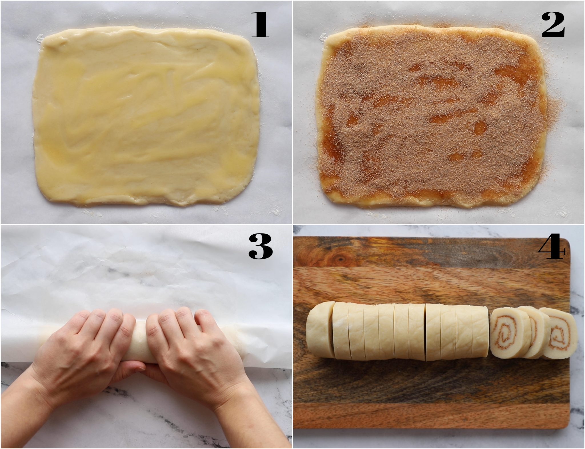 collage of 4 photos: 1) rolled out sugar cookies dough 2)dough topped with butter and cinnamon sugar 3) hands coming in and rolling up the dough 4) cookie dough roll sliced into discs