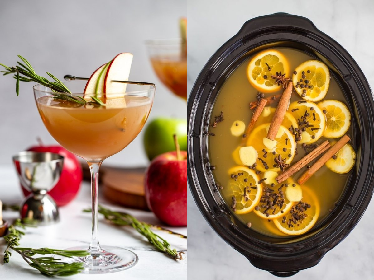 2 images side by side. Left image: apple cider cocktail in a flute glass. right image: mulled apple cider in a slow cooker