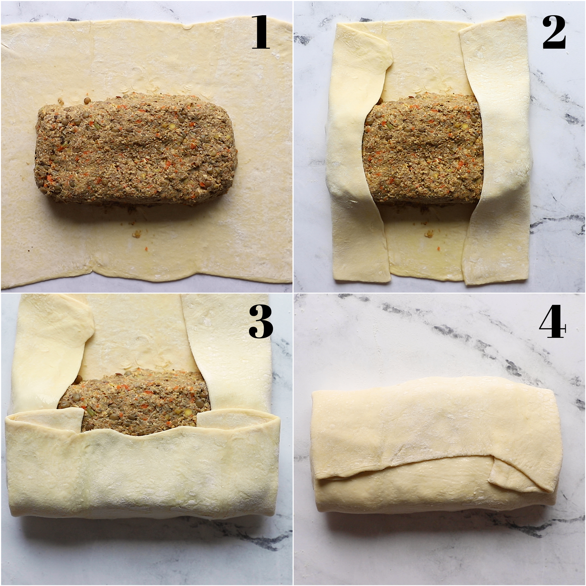 collage of 4 images showing the proper way to fold a vegetarian wellington.