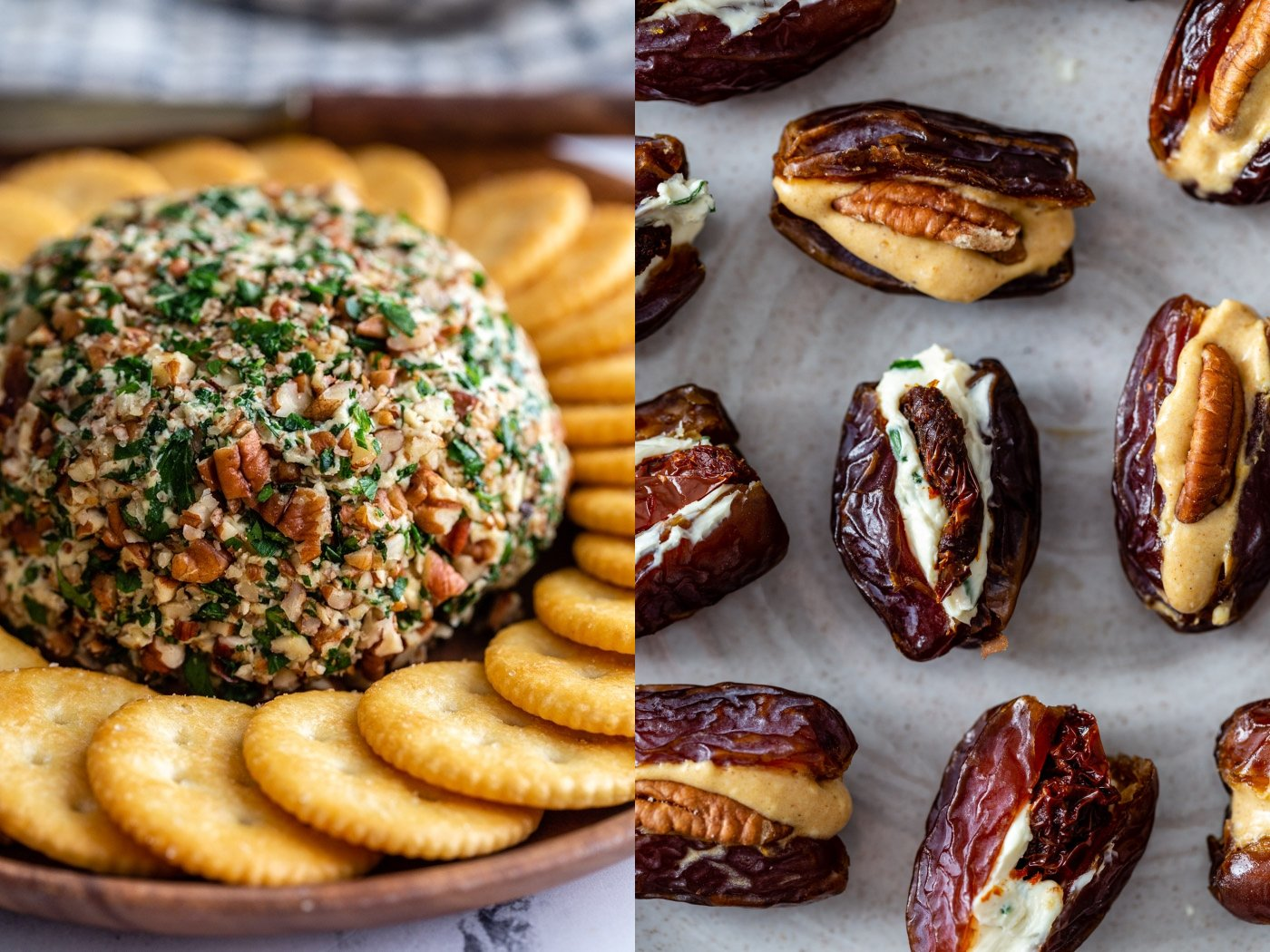 side by side images. left image: vegan cheeseball surrounded by crackers. Right image: cream cheese stuffed dates on a plate