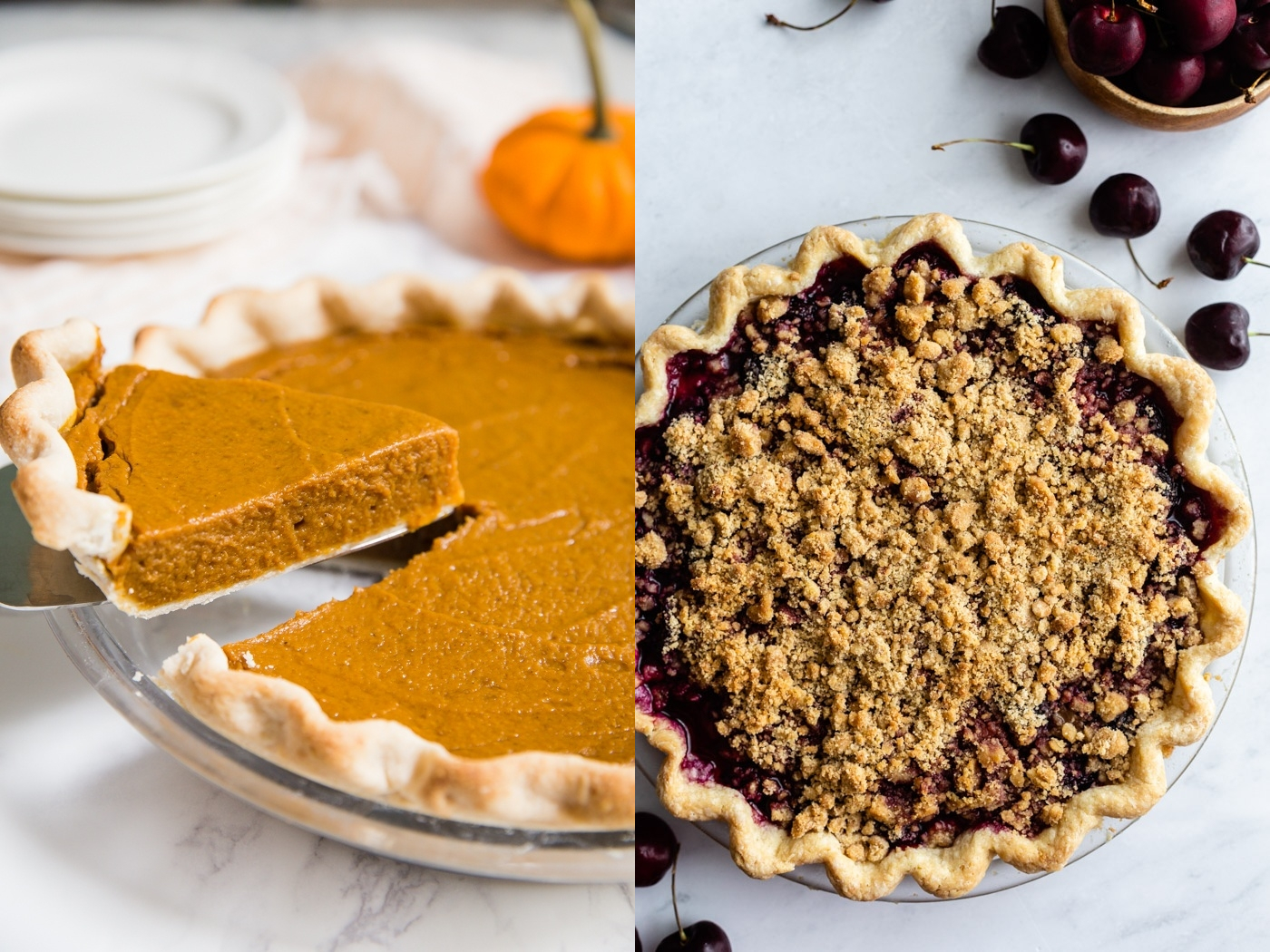 side by side images. left image: slice of pumpkin pie being pulled up from the whole pie. right image: cherry crumble pie