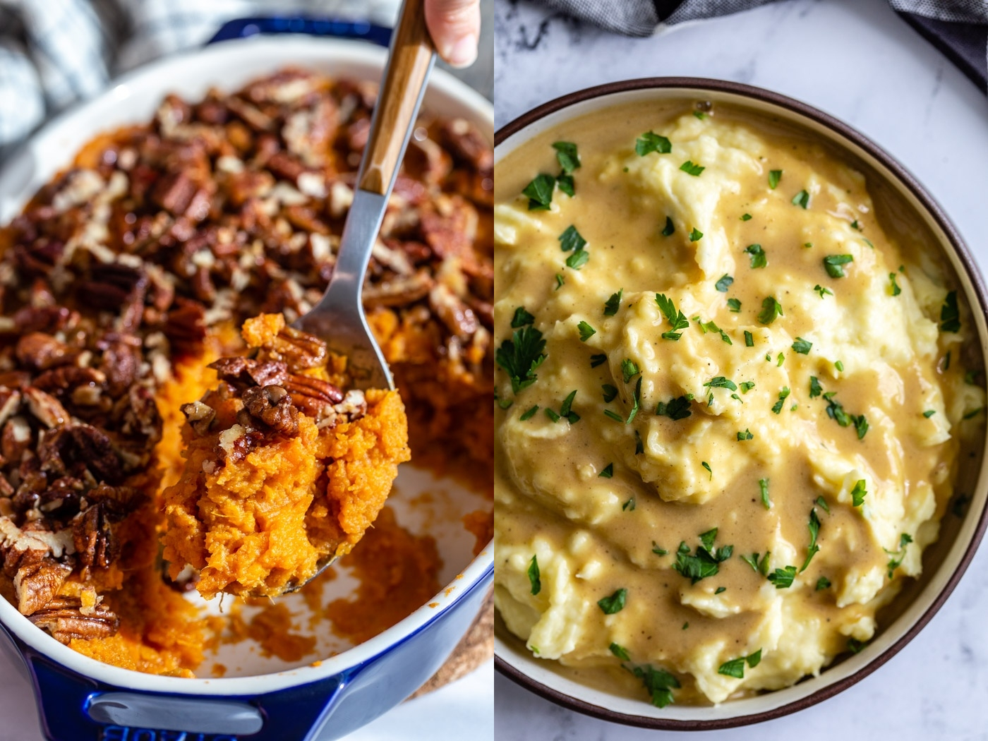 side by side images. left image is sweet potato casserole with a scoopfull being help up to the photo. right image: mashed potatoes covered in gravy