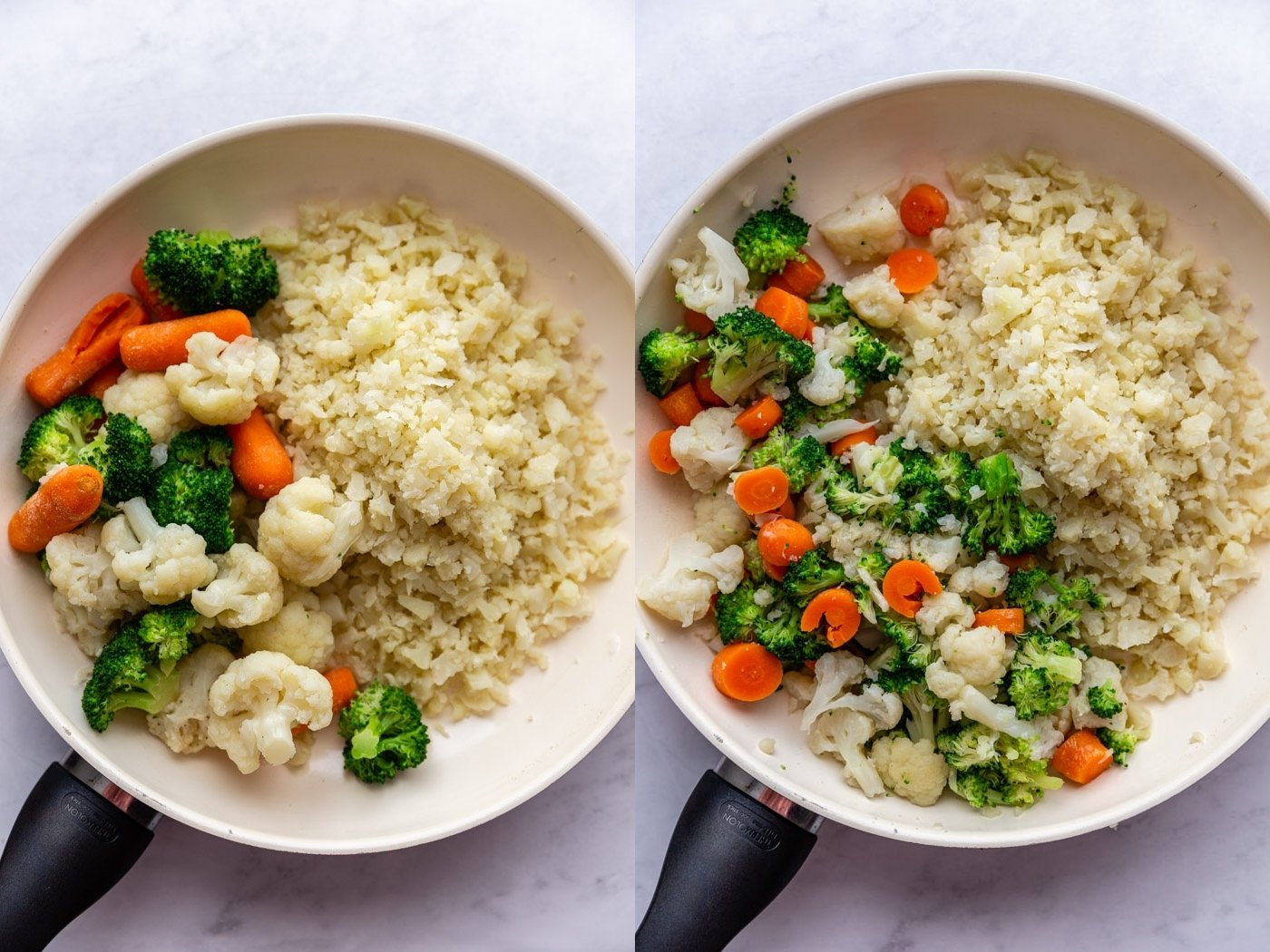 side by side images. Left: cauliflower rice in a skillet with steamed vegetables on the other side of the skillet. Right image: cauliflower rice in a skillet with steamed and chopped vegetables next to it