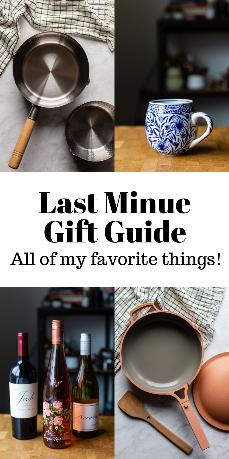 last minute gift guide with 4 images of gift ideas