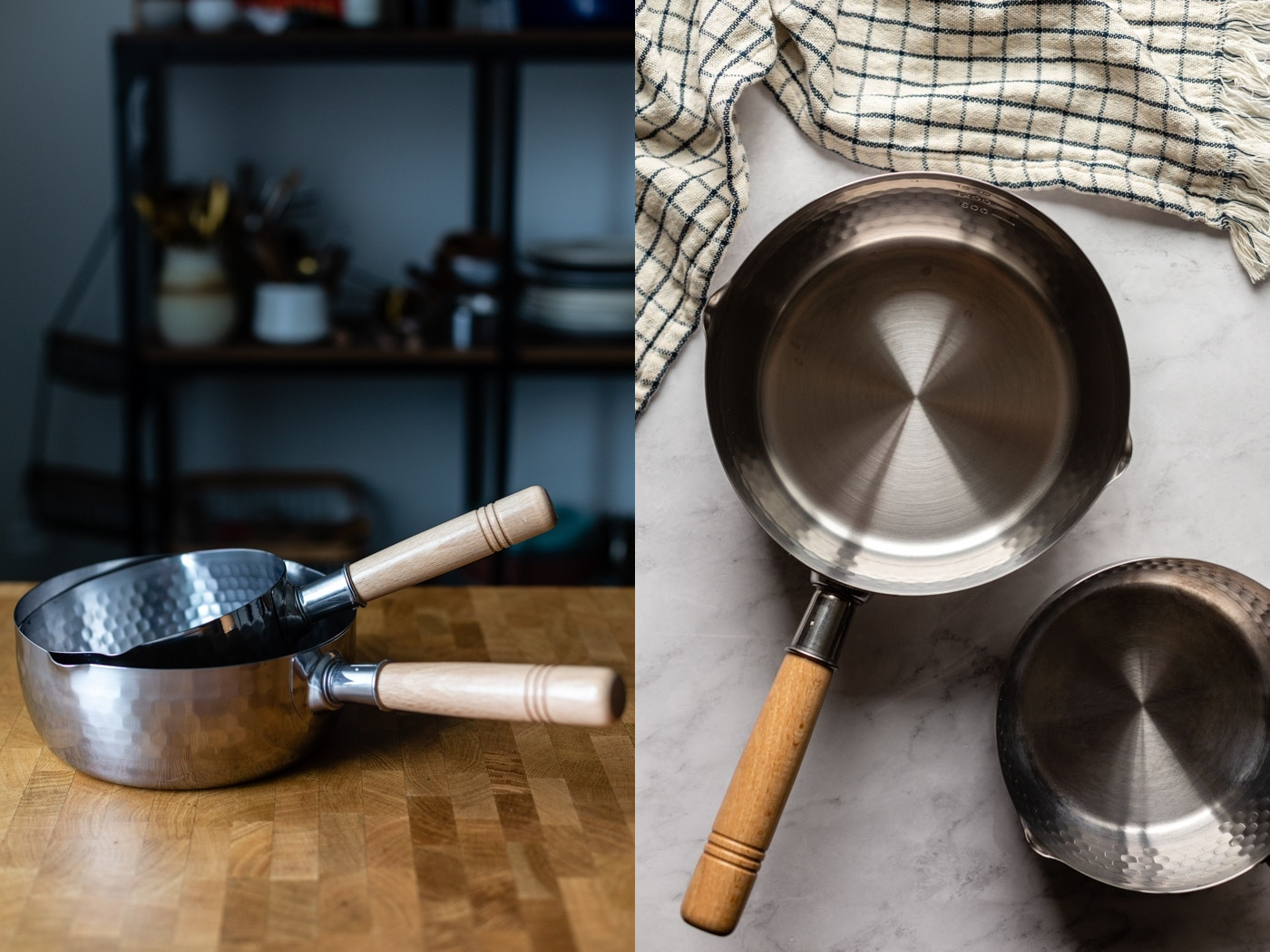 side by side images of different angles of silver pots with wooden handles