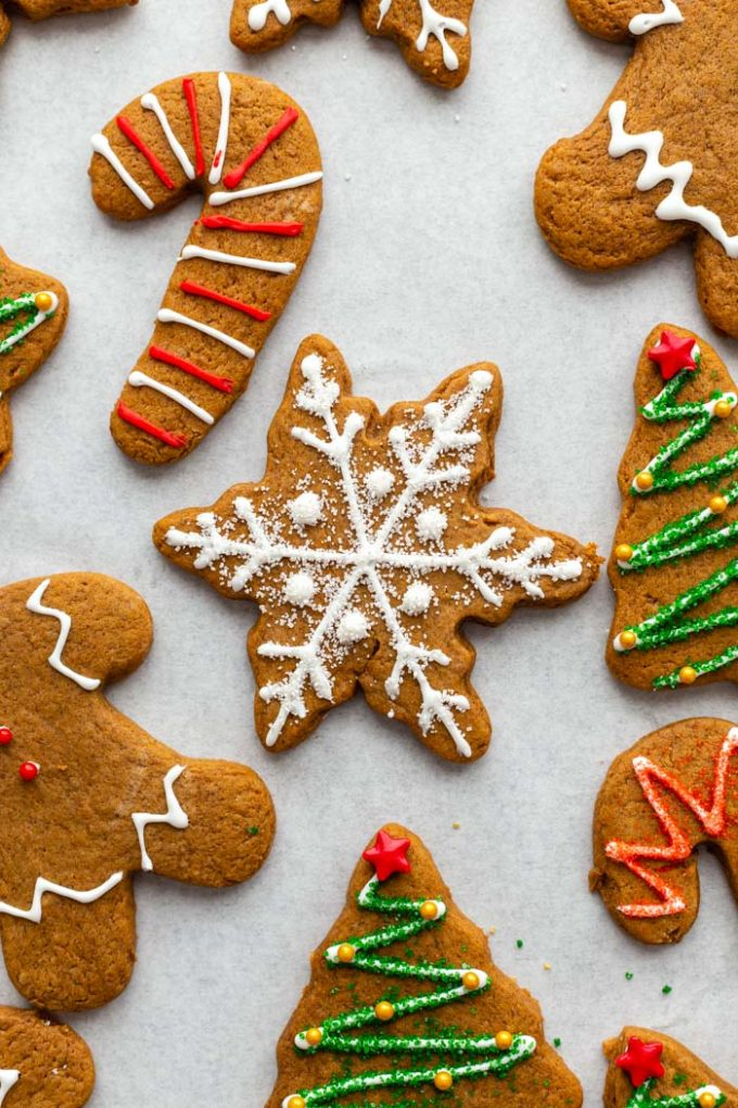 snowflake gingerbread cookie on a baking sheet