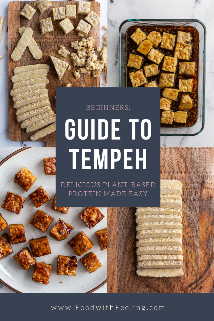 "collage image titled ""beginners guide to tempeh: delicious plant based protein"" with the web address at the bottom ""www.foodwithfeeling.com"" the collage has 4 different images of prepping tempeh"